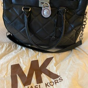 Michael Kors Quilted Hamilton Black Leather Tote